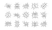 Shopping bag line icons. Gift, Present and Sale discount. Linear icon set. Vector