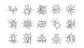 Artificial intelligence, Balance and Refer friend line icons. Timeline. Linear icon set. Vector