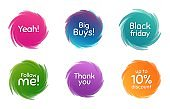 Black friday, 10% discount and follow me. Thank you phrase. Vector