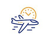 Flight time line icon. Airplane with clock sign. Vector