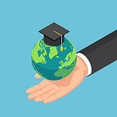 Isometric businessman hand holding the world with graduation cap
