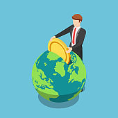 Isometric businessman put golden coin into the world