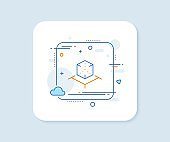 Augmented reality line icon. VR simulation sign. 3d cube. Vector