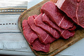 Portioned slices of raw meat on a cutting board.