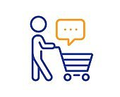 Buyer with shopping cart line icon. Customer think bubble sign. Vector