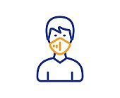 Man with medical mask line icon. Safety breathing respiratory mask sign. Vector