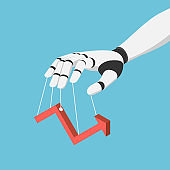 Isometric Ai Robot Hand Puppet and Controlling Financial Market Graph