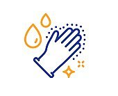 Washing hands line icon. Sanitary gloves sign. Vector