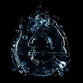 Letter e water splash isolated on black background