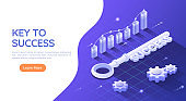 Isometric Web Banner Key to Success on Blue Background with Graph and Gear