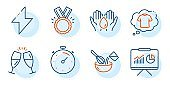 Energy, Safe water and Honor icons set. Timer, Presentation and Champagne glasses signs. Vector