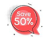 Save 50% off. Sale Discount offer price sign. Vector