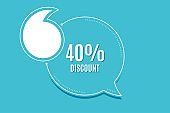 40% Discount. Sale offer price sign. Vector