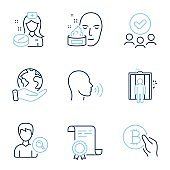 Face cream, Human sing and Nurse icons set. Search people, Elevator and Bitcoin pay signs. Vector