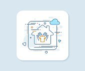 Hold t-shirt line icon. Laundry shirt sign. Clothing cleaner. Vector