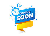 Coming soon ribbon banner with timer. Web element. Quality badge banner. Vector