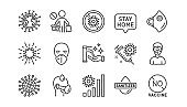 Coronavirus line icons set. Hands sanitizer, medical protective mask, no vaccine. Covid-19 pandemic. Vector