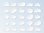Set of clouds. Cartoon clouds isolated on blue background. Vector illustration