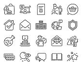 Technology icons set. Included icon as Search, Online shopping, Chemistry lab signs. Vector