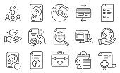 Set of Business icons, such as Certificate, Analytics chart, Hdd. Vector