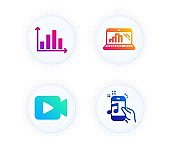Diagram graph, Video camera and Graph laptop icons set. Music phone sign. Vector