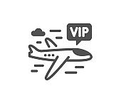 Vip flight icon. Very important person airplane sign. Vector