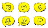 Heart flame, Smile and Smile chat icons set. Valet servant sign. Love fire, Comic chat, Heart face. Vector