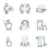 Swipe up, Scroll down and Leaf icons set. Like, Touchscreen gesture and Love couple signs. Vector