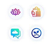 Organic tested, Weather forecast and Bio shopping icons set. Startup sign. Bio ingredients, Cloudy, Leaf. Vector