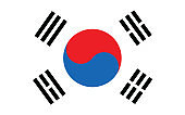 South Korea flag vector graphic. Rectangle South Korean flag illustration. South Korea country flag is a symbol of freedom, patriotism and independence.