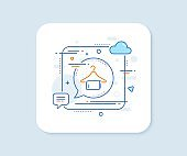 Clean towel line icon. Laundry hanger sign. Clothing cleaner. Vector