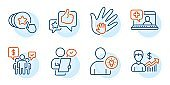 Medical help, Social responsibility and Hold heart icons set. User idea, Customer survey and Like signs. Vector