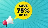Save up to 75%. Discount Sale offer price sign. Vector