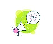 Idea speech bubble line icon. Graphic art sign. Vector