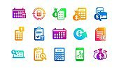 Accounting icons. Report, Calculator and Checklist. Classic icon set. Vector