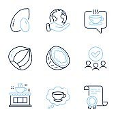 Coffee, Coffee cup and Hazelnut icons set. Peanut, Coconut signs. Cafe, Think bubble, Vegetarian nut. Vector