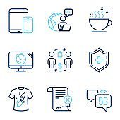 Business icons set. Included icon as Buying process, Coffee cup, T-shirt design signs. Vector