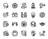 Coronavirus icons. Medical mask, washing hands, protective glasses. Covid-19 pandemic. Vector