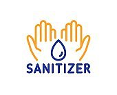 Hand sanitizer line icon. Sanitary cleaning sign. Vector