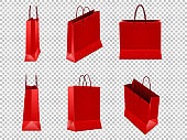 Set of red shopping bags from plastic or paper with handles on transparent background. Vector illustration