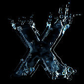 Letter x water splash isolated on black background