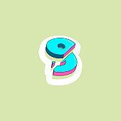color isometric 3d font, three-dimensional alphabet, vector illustration
