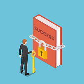 Isometric businessman holding key standing in front of success book with lock