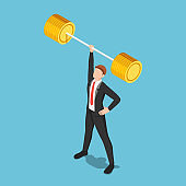 Isometric businessman lifting barbell by one hand
