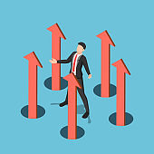 Isometric businessman controlling business arrow up from the floor