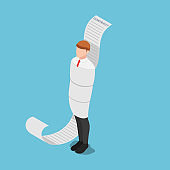 Isometric Businessman Tied Up with Contract Document
