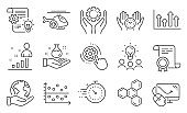 Set of Science icons, such as Timer, Medical helicopter, Stats. Vector