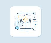 Safe energy line icon. Thunderbolt sign. Electric power. Vector