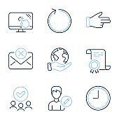 Loop, Time and Edit person icons set. Reject mail, Touch screen and Click hand signs. Vector