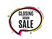 Closing down sale. Special offer price sign. Vector